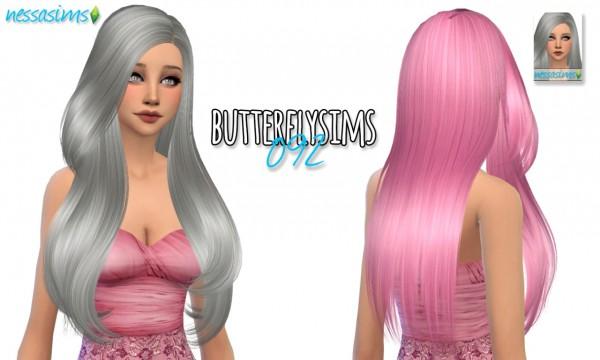 Nessa sims: Butterflysims 092 hair retextured for Sims 4