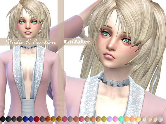 Studio K Creation: Animate hairstyle 28   Asuna for Sims 4