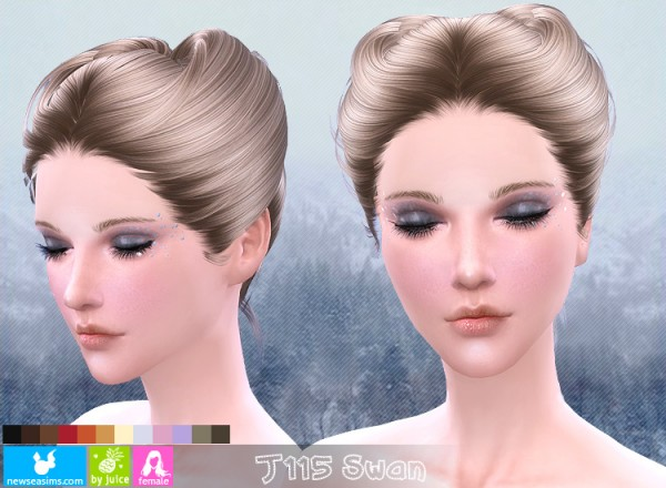 NewSea: J115 Swan hairstyle for Sims 4
