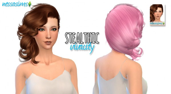 Nessa sims: Stealthic Vivacity hair retextured for Sims 4