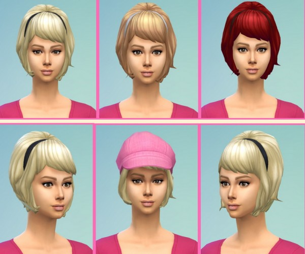 Birksches sims blog: Teased Hairstyle with Band for Sims 4