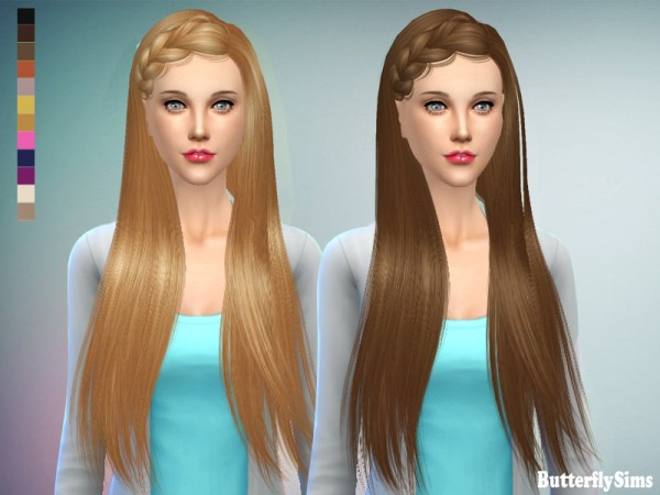 Butterflysims: Hairstyle 155 No hat for Sims 4