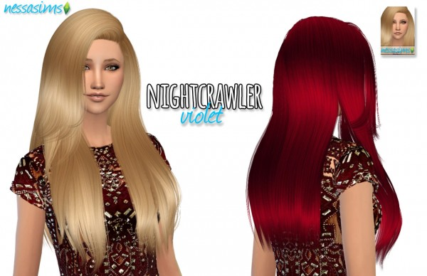 Nessa sims: Nightcrawler Violet for Sims 4