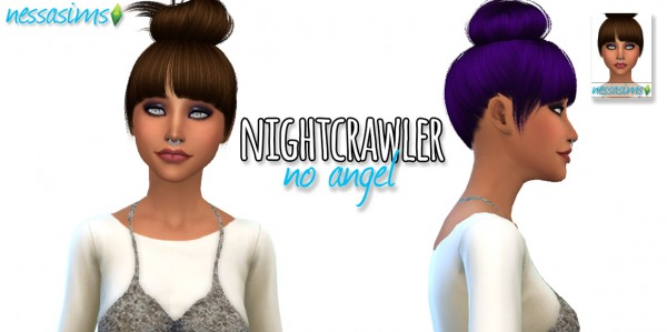 Nessa sims: Nightcrawler No Angel hairstyle retextured for Sims 4