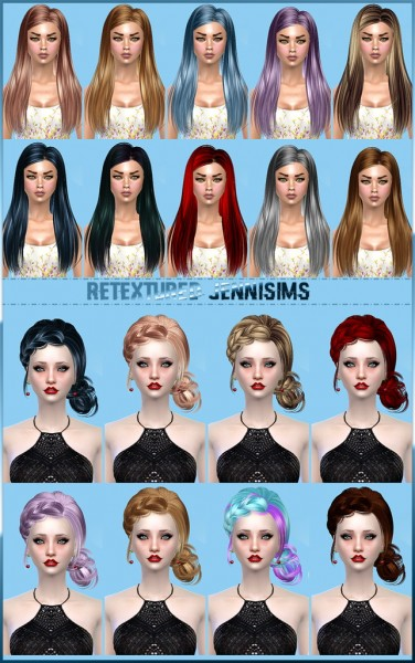 Jenni Sims: Butterflysims Hairstyles 092 and 143 retextured for Sims 4