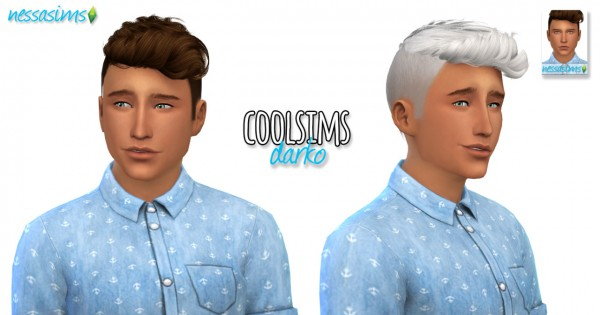 Nessa sims: CoolSims Darko hairstyle retextured for Sims 4