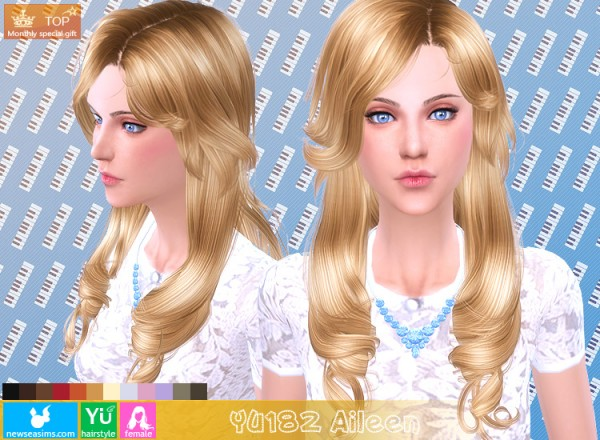 NewSea: YU182 Aileen hairstyle for Sims 4