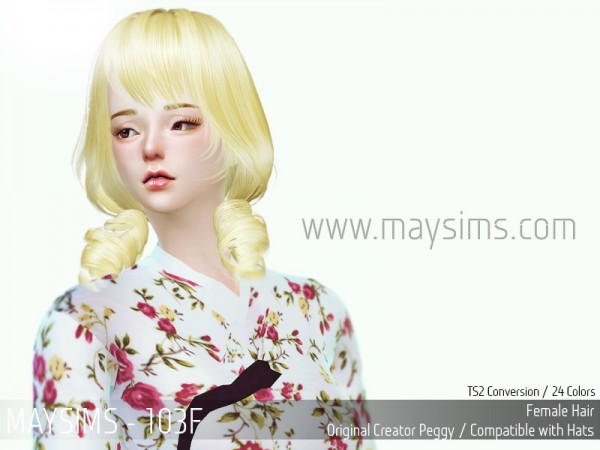 MAY Sims: May Hairstyle 103F retextured for Sims 4