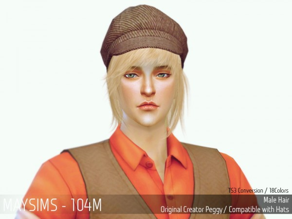 MAY Sims: May Hairstyle 104M retextured for Sims 4