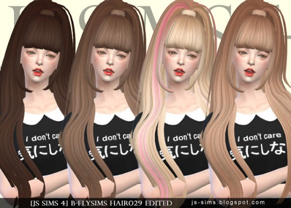 JS Sims 4: Butterfly`s 029 hairstyle retextured for Sims 4