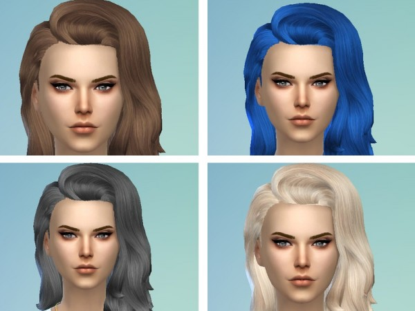 The Sims Resource: Long flipped hairstyle retextured by TatyanaName for Sims 4
