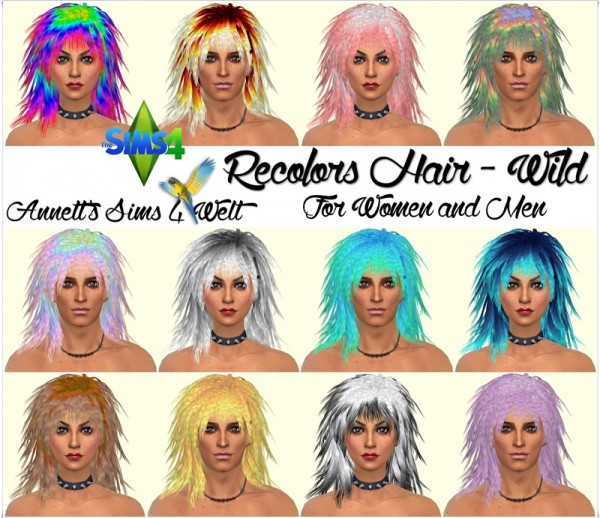 Simista: Wild hair recolor for Sims 4