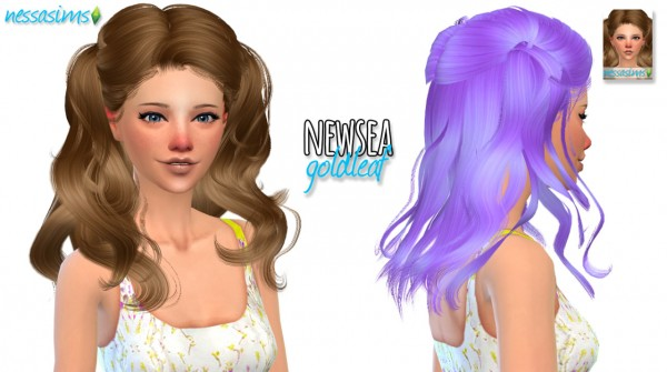 Nessa sims: Newsea`s Goldleaf hairstyle retextured for Sims 4