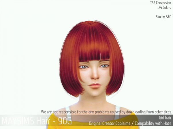 MAY Sims: May Hair 90 G for Sims 4