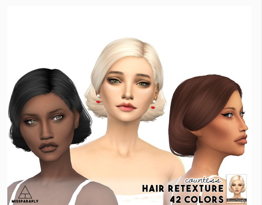 Miss Paraply: Anto Countess hair retextured for Sims 4