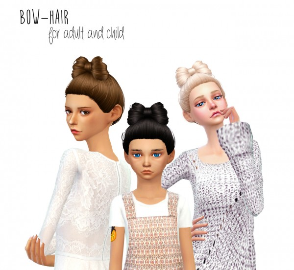 Dani Paradise: Non alpha bow hair for Sims 4