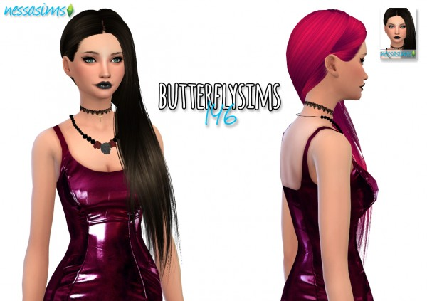Nessa sims: Butterflysims 146 hair retextured for Sims 4