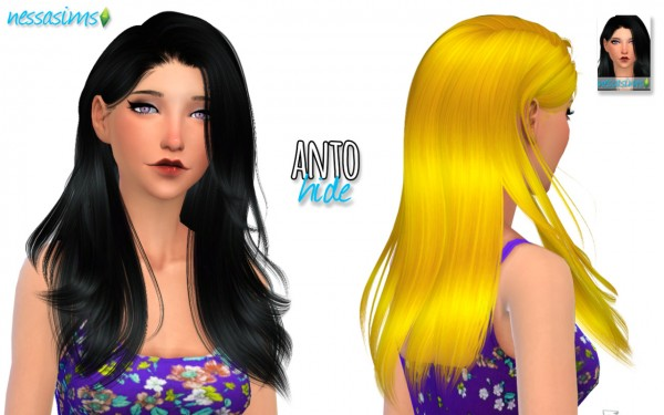 Nessa sims: Anto Hide hair retextured for Sims 4