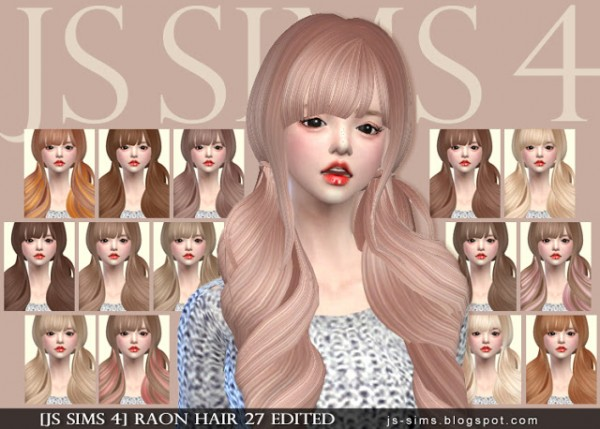 JS Sims 4: Raon`s Hair 27 retextured for Sims 4