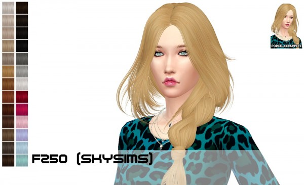 Porcelain Warehouse: Skysims 250 and 251 hair retextured for Sims 4