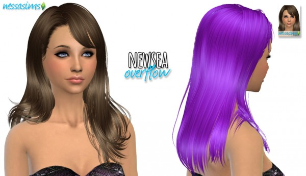 Nessa sims: Newsea Overflow hair retextured for Sims 4