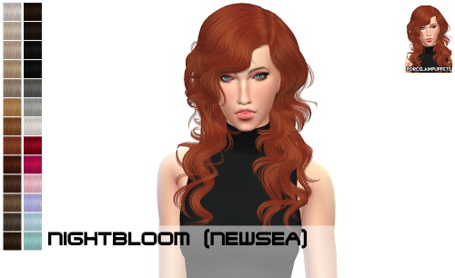 Porcelain Warehouse: Newsea Night Bloom + Gold Leaf hair retextured for Sims 4