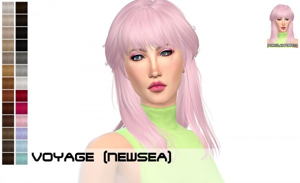 Porcelain Warehouse: Newsea Voyage + Infinity hair retextured for Sims 4
