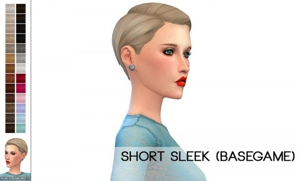 Porcelain Warehouse: Short Sleek + Hiders hair retextured for Sims 4