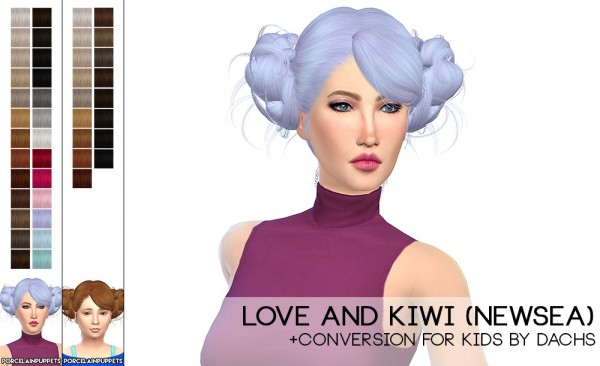 Porcelain Warehouse: Newsea Lovers + LoveAndKiwi hair retextured for Sims 4