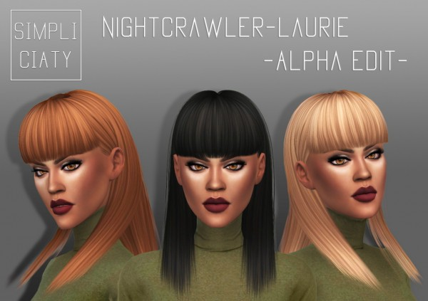 Simpliciaty: Nightcrawler Laurie Alpha Edit for Sims 4