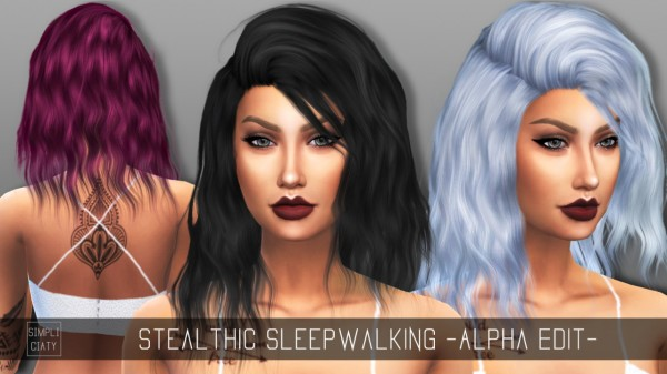 Simpliciaty: Stealthic's Sleepwalking hair retextured for Sims 4