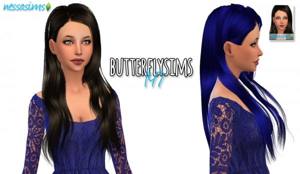 Nessa sims: Butterflysims 147 hair retextured for Sims 4