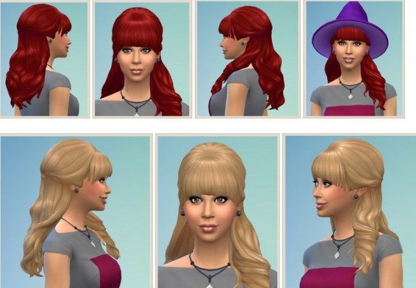 Birksches sims blog: Teased HalfUp Hair for Sims 4