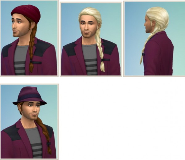 Birksches sims blog: Side Braid hair for Men for Sims 4
