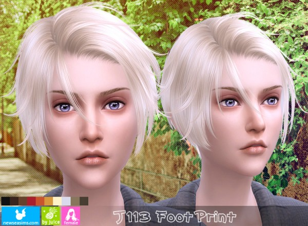 NewSea: J113 Foot Print hair for her for Sims 4