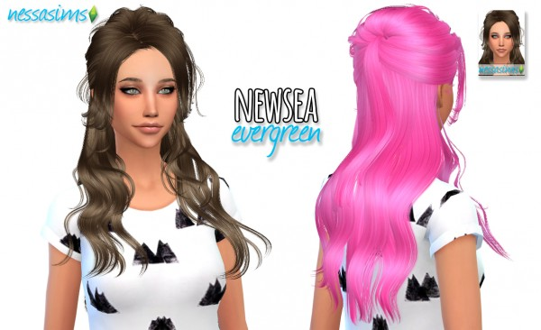 Nessa sims: Newsea Evergreen hair retextured for Sims 4