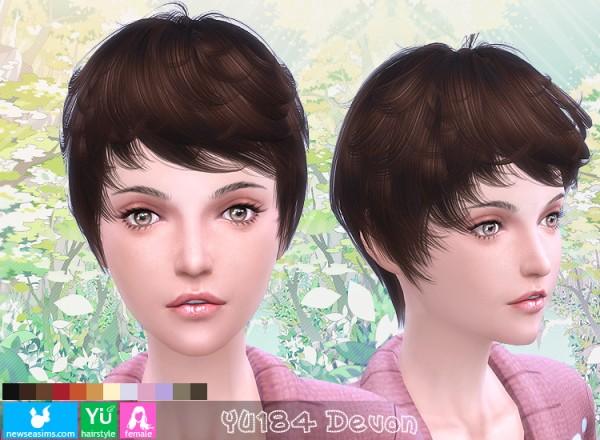 NewSea: YU 184 Devon hair for Sims 4