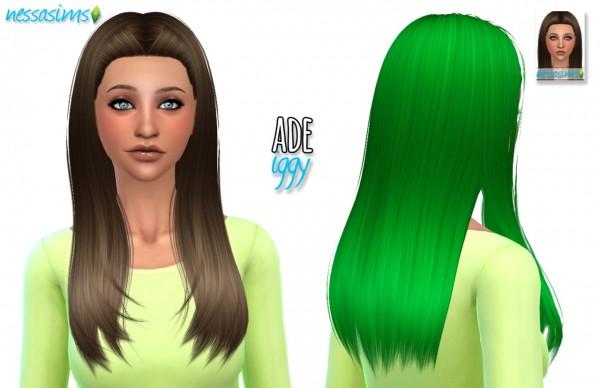 Nessa sims: Ade Iggy hair retextured for Sims 4