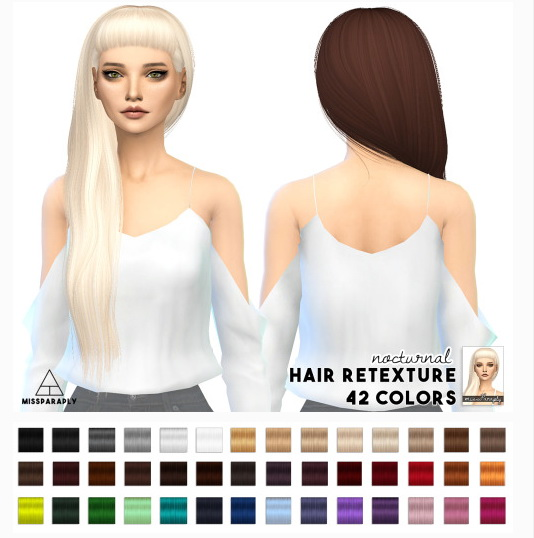 Miss Paraply: Anto Nocturnal hair retextured for Sims 4