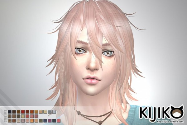 Kijiko Sims: Pink & Fluffy long hair version for her for Sims 4