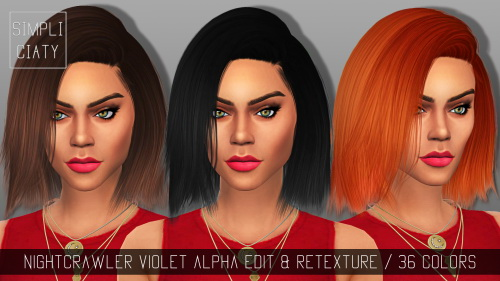 Simpliciaty: Nightcrawler Violet hairstyle retextured for Sims 4