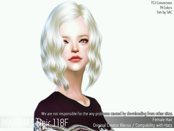 MAY Sims: May Hair 118F retextured for Sims 4