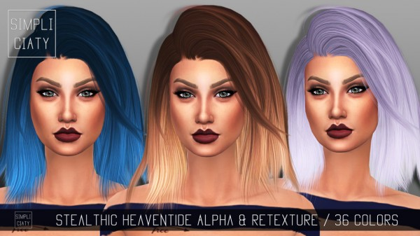 Simpliciaty: Stealthic Heaventide hair retextured for Sims 4