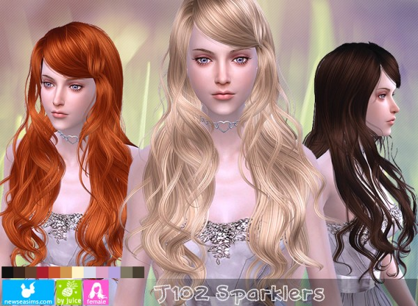 NewSea: J102 Sparklers hair for Sims 4