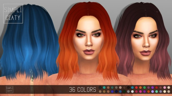 Simpliciaty: Sintiklia's 20 Alia hair retextured for Sims 4