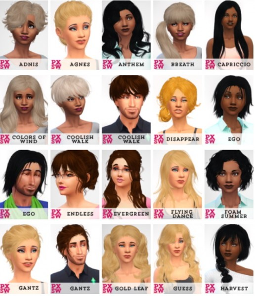 Swirl Goodies: Newsea`s hairstyles retextured   part 1 for Sims 4