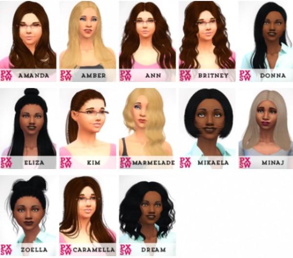 Swirl Goodies: Sintiklia`s hairs retextured for Sims 4