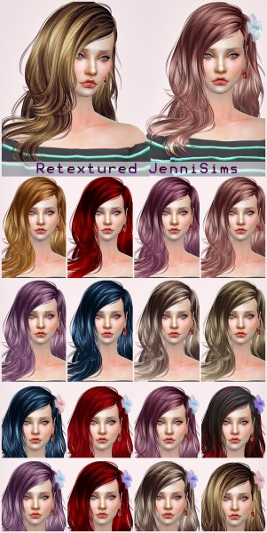Jenni Sims: Newsea`s IvoryTower hair retextured for Sims 4