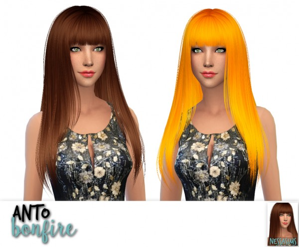 Nessa sims: Anto anchor, bonfire, quantum hair retextured for Sims 4