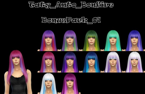 Taty: Anto Bonfire hair retextured for Sims 4